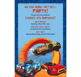 Custom Hot Wheels Wild Racer Invitations Thank You Notes Party - Hot wheels birthday invitation how to make