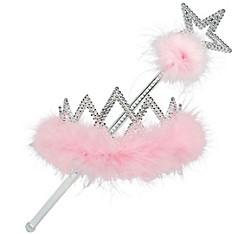 Pink Marabou Tiara & Wand Set