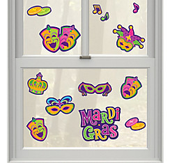 Mardi Gras Vinyl Window Decorations 13ct