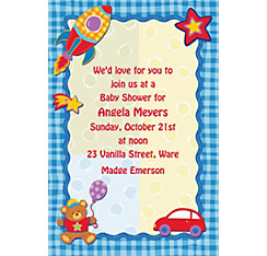 Hugs and Stitches Boy Custom Baby Shower Invitation