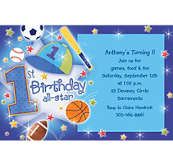 All Star 1st Birthday Custom Invitation