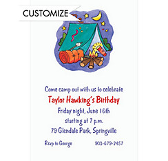 Camping Scene Custom Invitation