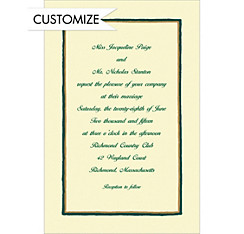 Green & Gold Lines/Ecru Custom Invitation