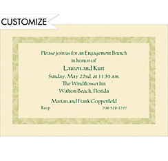 Narrow Sage Damask/Ecru Custom Invitation