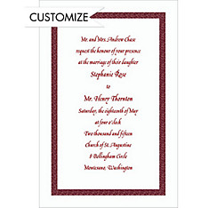 Narrow Maroon Texture/White Custom Invitation