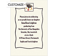 Black Simple Mortarboard Custom Graduation Invitation