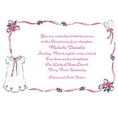 Girls' Christening Gown Custom Invitation