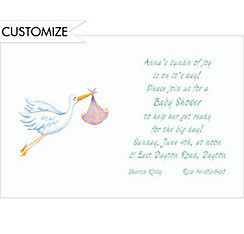 Stork Custom Baby Shower Invitation