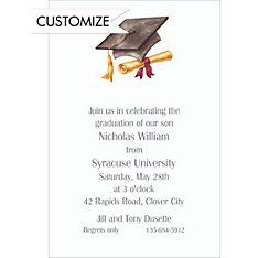 Custom Black Cap & Diploma Graduation Invitations