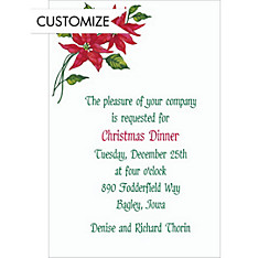 Poinsettia Custom Christmas Invitation