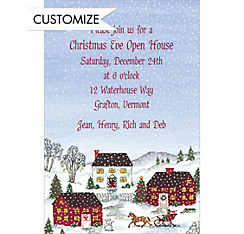Holiday Village Scene Custom Christmas Invitation