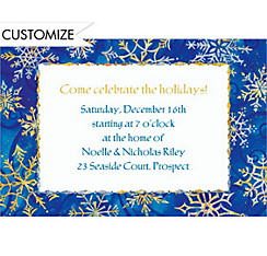 Shimmery Snowflakes Custom Christmas Invitation
