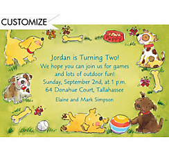 Playing Puppies Custom Invitation