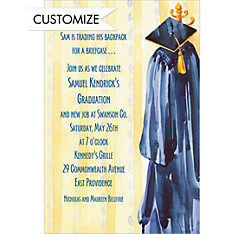 Blue Graduation Gown Custom Graduation Invitation