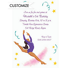 Leaping Gymnast Latina Custom Invitation