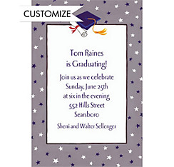 Graduate Star Pattern Custom Graduation Invitation