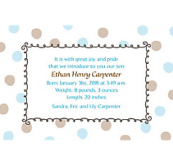 Custom Blue Dots Border Birth Announcements