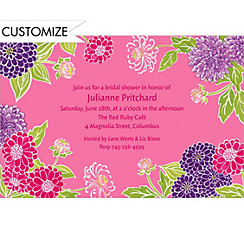 Pink Zinnias Custom Invitation