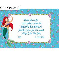 Ariel on Purple & Aqua Floral Custom Invitation