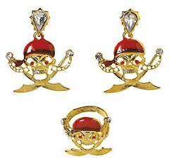 Pirate Skull Earrings & Ring Set