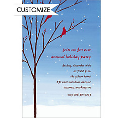 Birds in Snowy Branch Custom Christmas Invitation