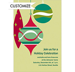 Retro Ornaments Custom Christmas Invitation