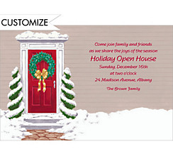 Snowy Front Door Custom Christmas Invitation