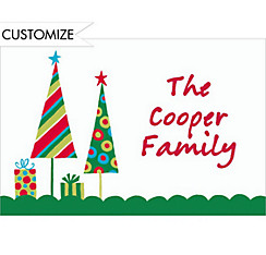 Cute Trees & Gifts Green Custom Christmas Thank You Note