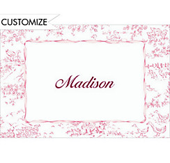 Pink Toile Custom Baby Shower Thank You Note