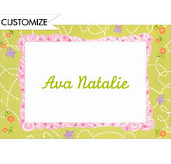 Flowers & Butterflies Custom Baby Shower Thank You Note
