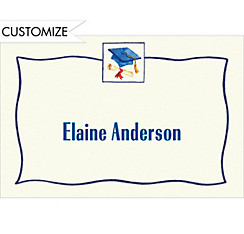 Blue Simple Mortarboard Custom Thank You Notes