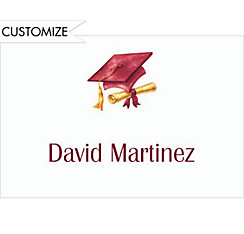 Custom Crimson Cap & Diploma Graduation Thank You Notes