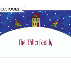 Little Christmas House Custom Thank You Note