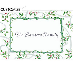 Sweet Tossed Holly Custom Christmas Thank You Note
