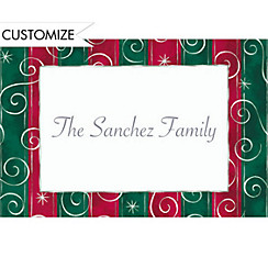 Magical Stripes and Swirls Custom Christmas Thank You Note