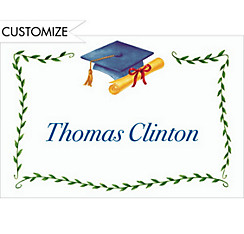Blue Mortarboard & Ivy Custom Thank You Notes