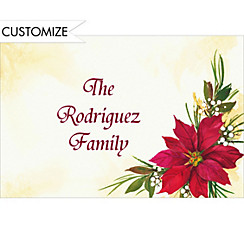 Poinsettia & Berries Custom Christmas Thank You Note