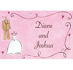 Custom Bride & Groom with Swirls Wedding Thank You Notes