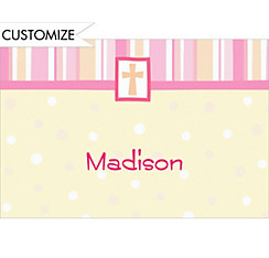 Cross with Patterns Pink Custom Thank You Note