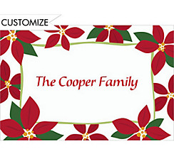 Mod Poinsettias Custom Christmas Thank You Note