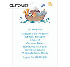 Fanciful Noah's Ark Custom Baby Shower Invitation