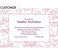 Pink Toile Custom Baby Shower Invitation