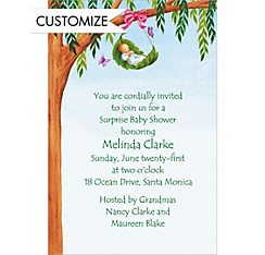 Tree Branch with Leaf Cradle Custom Baby Shower Invitation