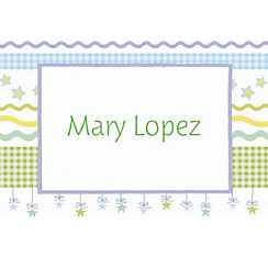 Stars with Gingham Custom Baby Shower Thank You Note