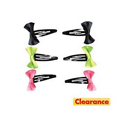 Neon Bow Barrettes 6ct