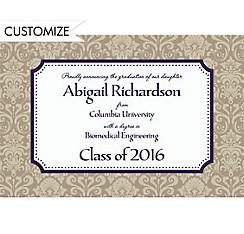 Custom Navy Classic Damask Border Graduation Announcements