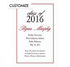 Custom Red Dot & Line Graduation Announcements