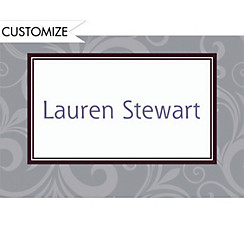 Gray Floating Border Custom Graduation Thank You Notes