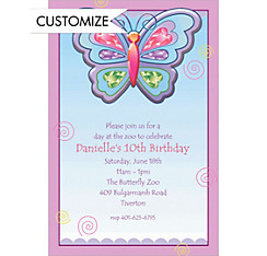 Fluttering Butterfly Custom Invitation