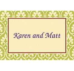 Natural Damask Custom Thank You Note